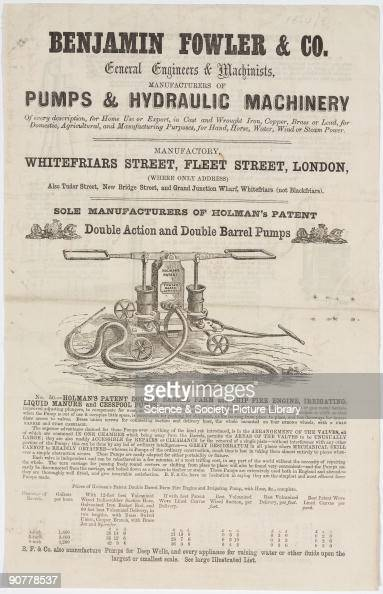 Broadsheet letterpress with wood block illustrations of General Engineers Machinists B Fowler Co Fleet Street London Depicted is Holman's Patent...