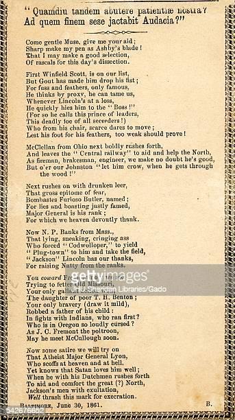 Broadside from the American Civil War entitled 'Quamdiu tandem abutere patientiae nostra Ad quem dinem sese jactabit Audacia' using a historical...