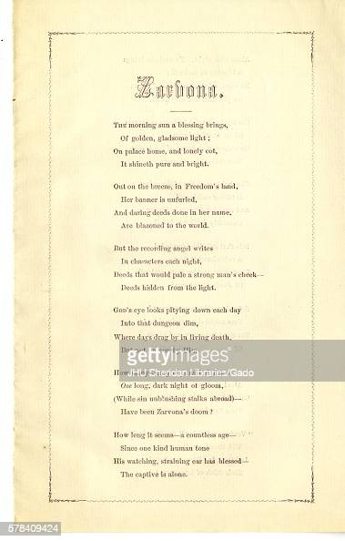 Broadside from the American Civil War entitled 'Zarvona ' depicting a sorrowful God who looks down upon the dim days of war and Richard Thomas...