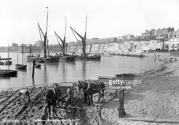 Broadstairs Harbour Kent 18901910 This view shows a strange mixture of the commercial and recreational aspects of the Kent town Several fishing...