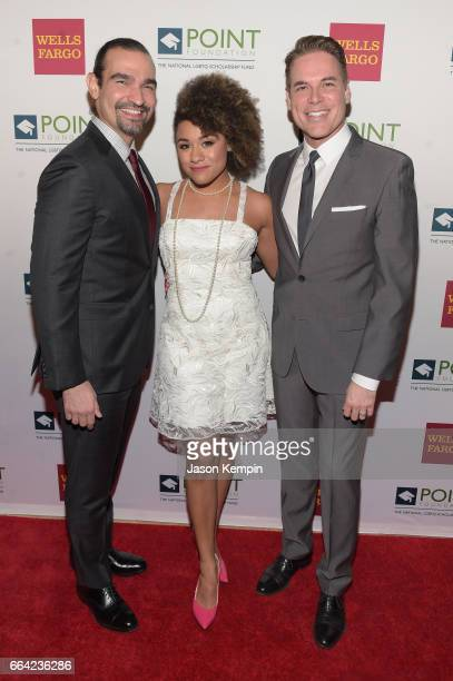 Broadway actor Javier Munoz actress Ariana DeBose and Executive director and CEO of Point Foundation Jorge Valencia attend the Point Honors Gala at...