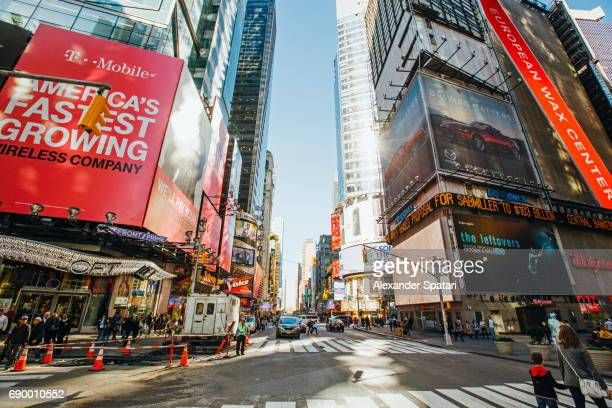 Broadway and Times Square on a sunny morning, New York City, USA