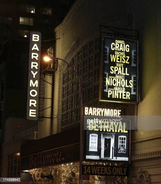 Broadway marquee unveiling for 'Betrayal' starring Rachel Weisz Daniel Craig Rafe Spall and directed by Mike Nichols at The Ethel Barrymore Theatre...