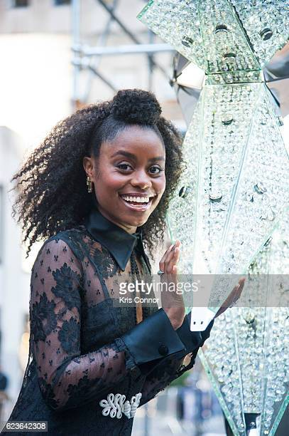 Broadway performer Denee Benton poses with the 2016 Swarovski Star before it is raised to be put on top of the Rockfeller Center Christmas Tree in...