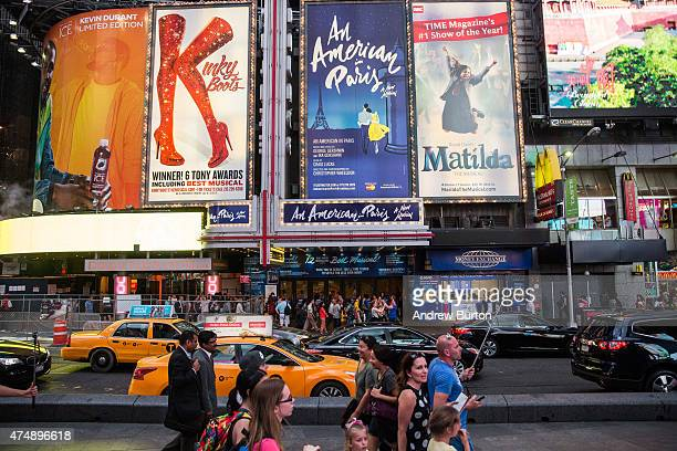 Broadway play advertisements are seen in Times Square on May 27 2015 in New York City Broadway theaters drew more than 13 million attendees a new...