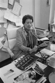 Broadway publicist Betty Lee Hunt of 'Hunt/Pucci Associates' at work in her office New York City circa 1975