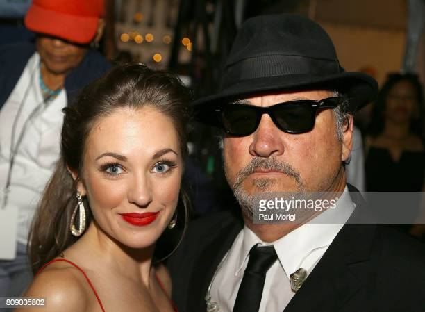 Broadway star and twotime Tony Award nominee Laura Osnes and Jim Belushi of The Blues Brothers backstage at A Capitol Fourth at US Capitol West Lawn...