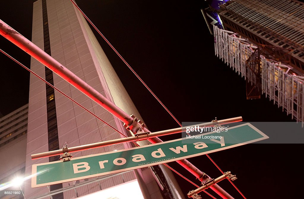 Broadway street sign is seen during the dimming of the marquees of Broadway theatres in rememberance of actress Natasha Richardson March 19 2009 in...