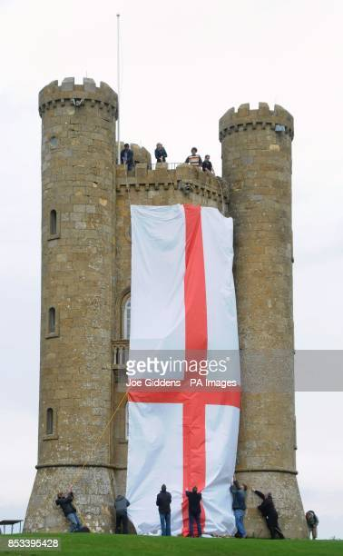 Broadway Tower in Worcestershire is dressed in the flag of St George as part of the celebrations marking the start of asparagus season