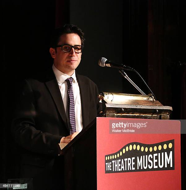 BroadwayWorldcom's Robert Diamond accepts the Theatre Arts Education Award during the presentation for The 2014 Theatre Museum Awards at the Players...