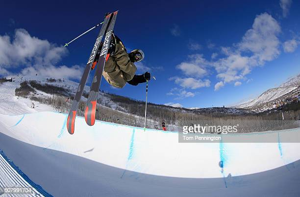 Broby Leeds takes a practice run in the Halfpipe during the 2016 Visa US Freeskiing Park City Grand Prix on February 2 2016 in Park City Utah