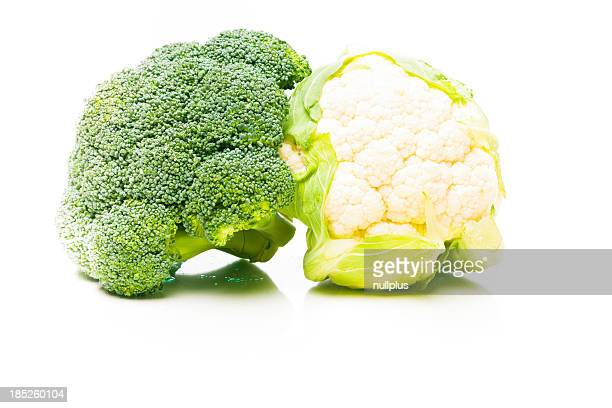 broccoli and cauliflower on white