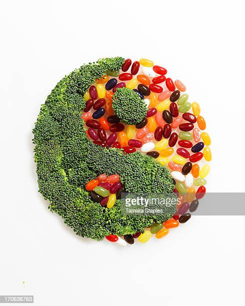 Broccoli and Jelly Beans in the shape of Yin/Yang