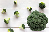 Broccoli and scattered pieces on a white table, top view. Fresh vegetables on light wooden background.