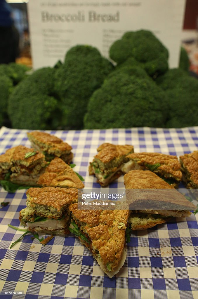 Broccoli bread is displayed at the Experimental Food Society Exhibition on November 8, 2013 in London, England. A collective of food magicians, sonic food artists, cake sculptors, gastronomic tailors, culinary cabaret troupes and a dining conceptualist have gathered together for a two day exhibition featuring their unique edible creations.