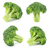 Broccoli. Broccoli isolated on white. Collection. Full depth of field.
