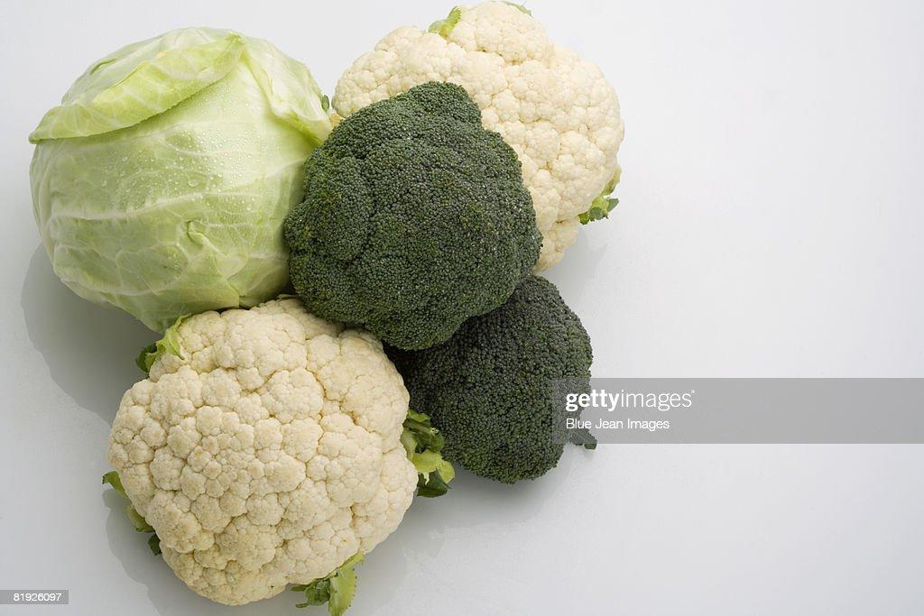 Broccoli, cauliflower and cabbage : Stock Photo