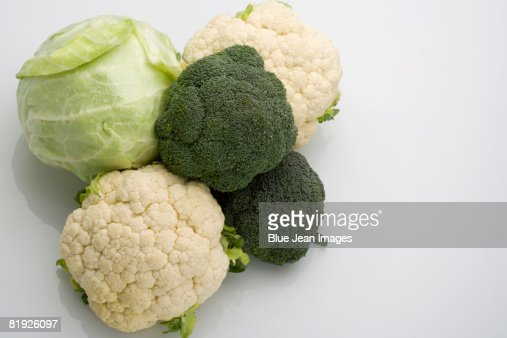 Broccoli, cauliflower and cabbage : Stock Photo