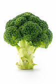 Close up isolated Broccoli on white. Selective focus