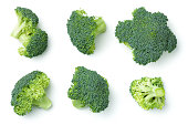 Broccoli isolated on white background. Top view
