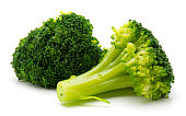 Steamed broccoli isolated on white background two pieces'n