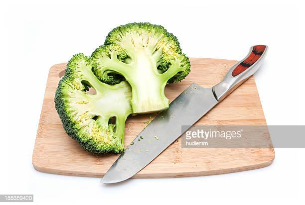 Broccoli on Cutting Board isolated on white background