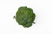Single Broccoli (Brassica oleracea) on a white background