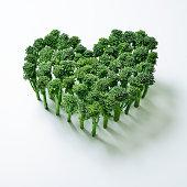 Broccoli stems in a heart shape