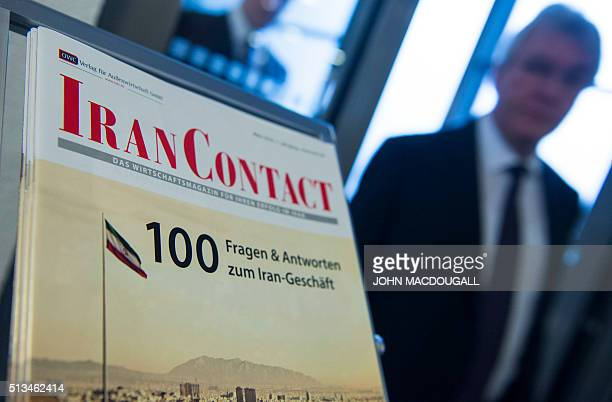 A brochure answering questions on investment in Iran is seen at the GermanIranian Business Forum in Berlin on March 3 2016 / AFP / John MACDOUGALL