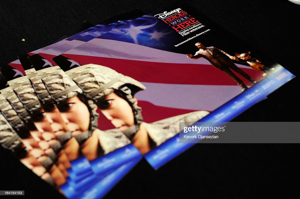 A brochure by Disney Corporation is placed on a table during a jobs fair for veterans called 'Serving Those Who Have Served' on the campus of University of Southern California on March 20, 2013 in Los Angeles, California. California's unemployment rate tied with Rhode Island's for highest in U.S. at 9.8 percent.