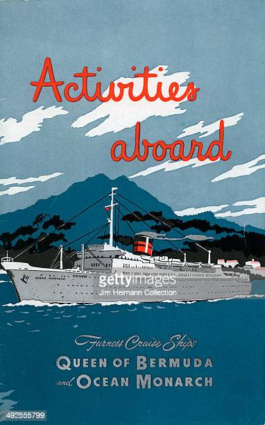 A brochure for Queen of Bermuda and Ocean Monarch by Furness Cruise Ships reads 'Activities Aboard' from 1953