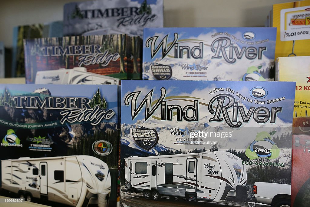 Brochures for towable RVs are displayed at Cordelia RV on May 29, 2013 in Fairfield, California. Deliveries of motor homes and towable RVs to dealers surged 11 percent in the first quarter and the RV industry anticipates a total of 307,300 units will be shipped this year, the highest number since 2007.