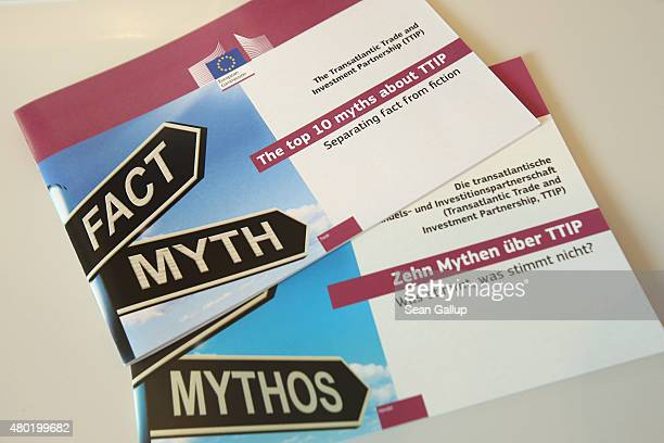 Brochures in English and German at the public information representation of the European Commission seek to address facts and myths surrounding the...