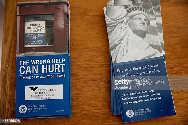 Brochures warning of immigration scams are displayed at the United Farm Workers Foundation offices in Bakersfield California US on Thursday March 19...