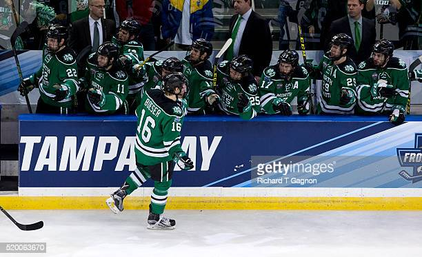 Brock Boeser of North Dakota Fighting Hawks celebrates after he scored against the Quinnipiac University Bobcats a goal for a 20 lead during the 2016...