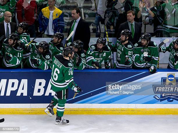 Brock Boeser of North Dakota Fighting Hawks celebrates after scoring the eventual national championship clinching gamewinning goal for a 20 lead...