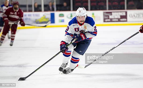 Brock Boeser of the USA National Junior Team skates during NCAA exhibition hockey against the Massachusetts Minutemen at the Mullins Center on...