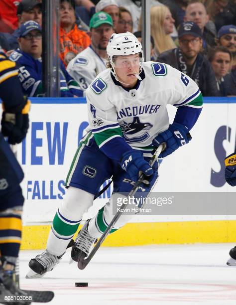 Brock Boeser of the Vancouver Canucks during the game against the Buffalo Sabres at the KeyBank Center on October 20 2017 in Buffalo New York