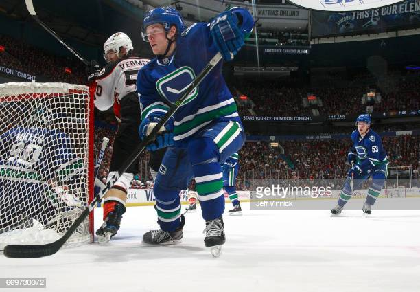 Brock Boeser of the Vancouver Canucks looks for a rebound during their NHL game against the Anaheim Ducks at Rogers Arena March 28 2017 in Vancouver...