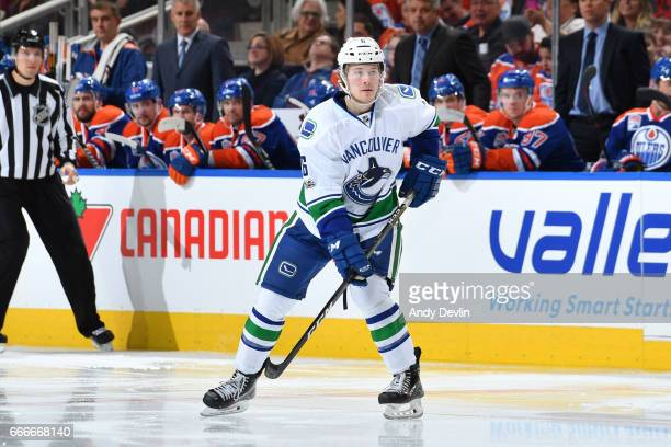 Brock Boeser of the Vancouver Canucks skates during the game against the Edmonton Oilers on April 9 2017 at Rogers Place in Edmonton Alberta Canada