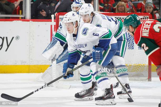 Brock Boeser of the Vancouver Canucks skates in his first career NHL game against the Minnesota Wild during the game on March 25 2017 at the Xcel...