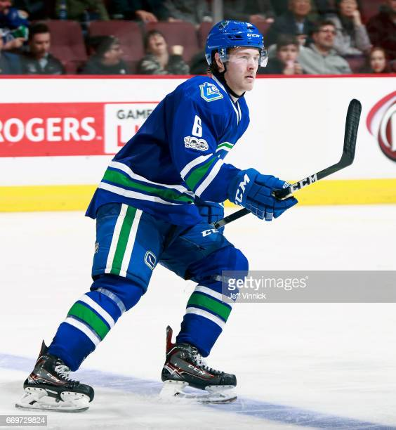 Brock Boeser of the Vancouver Canucks skates up ice during their NHL game against the Anaheim Ducks at Rogers Arena March 28 2017 in Vancouver...