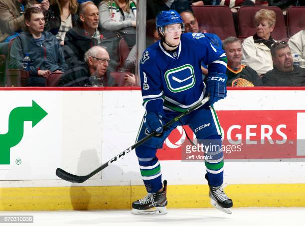 Brock Boeser of the Vancouver Canucks skates up ice during their NHL game against the San Jose Sharks at Rogers Arena April 2 2017 in Vancouver...