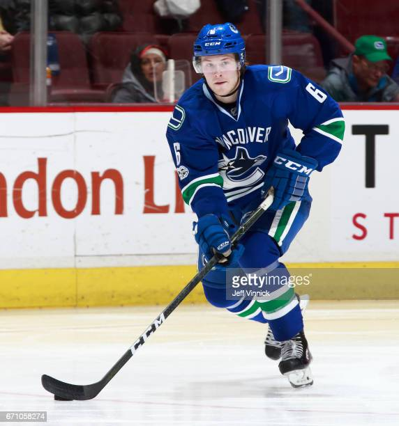 Brock Boeser of the Vancouver Canucks skates up ice during their NHL game against the Los Angeles Kings at Rogers Arena March 31 2017 in Vancouver...