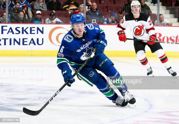 Brock Boeser of the Vancouver Canucks skates up ice during their NHL game against the New Jersey Devils at Rogers Arena November 1 2017 in Vancouver...