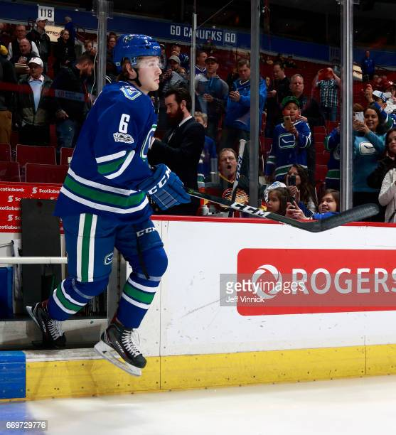 Brock Boeser of the Vancouver Canucks steps onto the ice during their NHL game against the Anaheim Ducks at Rogers Arena March 28 2017 in Vancouver...