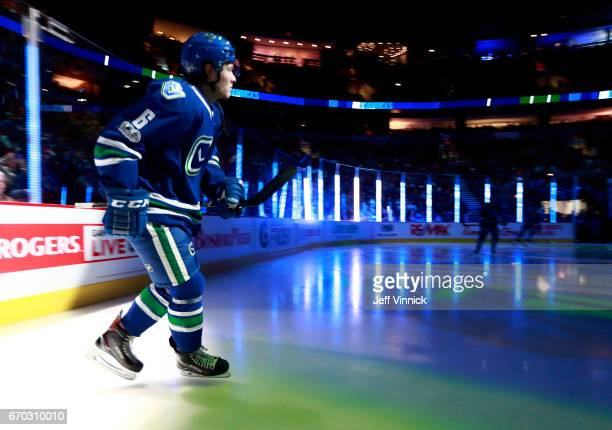 Brock Boeser of the Vancouver Canucks steps onto the ice during their NHL game against the San Jose Sharks at Rogers Arena April 2 2017 in Vancouver...