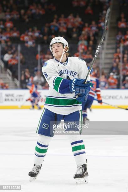 Brock Boeser of the Vancouver Canucks warms up before playing against the Edmonton Oilers on April 9 2017 at Rogers Place in Edmonton Alberta Canada