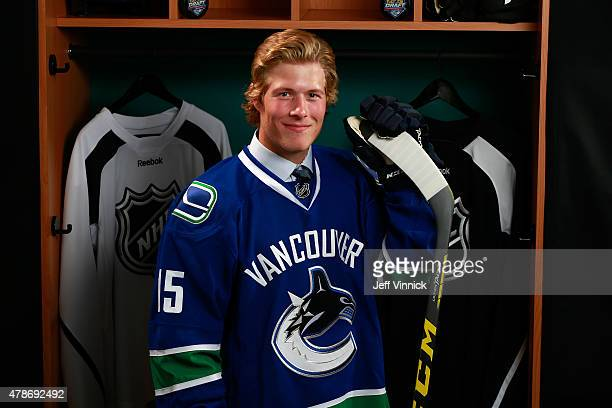 Brock Boeser poses for a portrait after being selected 23rd overall by the the Vancouver Canucks during Round One of the 2015 NHL Draft at BBT Center...