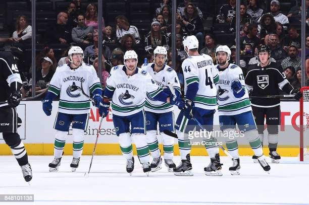 Brock Boeser Sven Baertschi Michael Del Zotto Erik Gudbranson and Alexander Burmistrov of the Vancouver Canucks clduring a game against the Los...